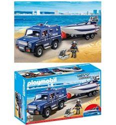 Playmobil coche policia con lancha - PLAYMOBIL-COCHE-POLICIA-CON-LANCHA-8695187