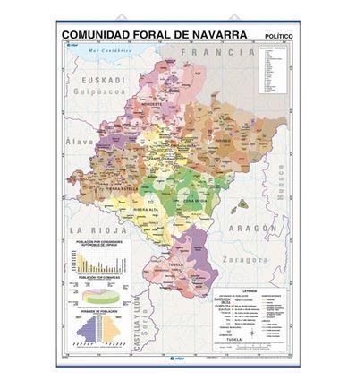 MAPA MURAL EDIGOL F/P 100X140CM COM. FORAL NAVARRA - 470441