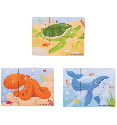 Puzzles creativos madera animales marinos - PUZZLE-MARINOS-879819
