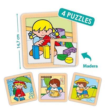 PACK 4 PUZZLES ZARO Y NITA 4 PZAS. - ZARO-NITA-4-PIEZAS