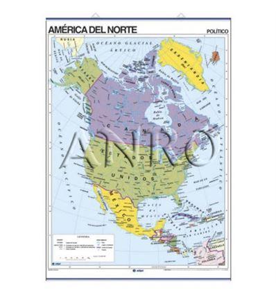 MAPA MURAL EDIGOL F/P 100X140CM AMERICA DEL NORTE - 470405