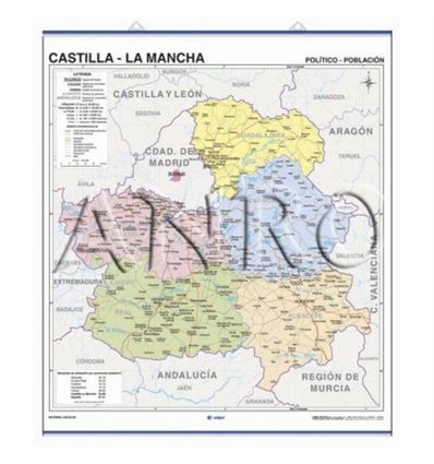 MAPA MURAL EDIGOL F/P 100X140CM CASTILLA LA MANCHA - 470420