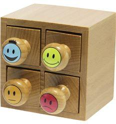 Sellos caritas exac 7x7cm 4ud cajita madera - 217421